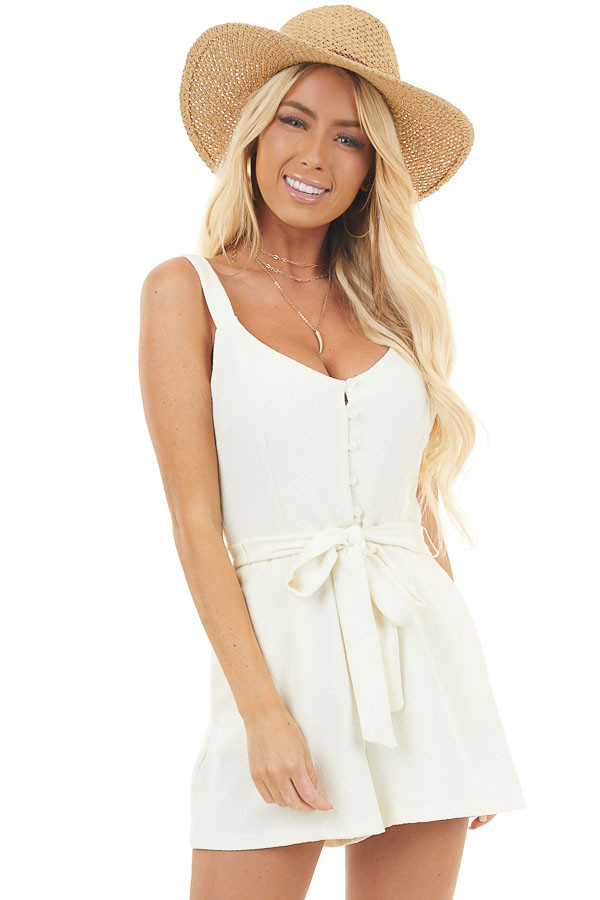 Champagne Short Sleeveless Romper with Front Tie and Pockets