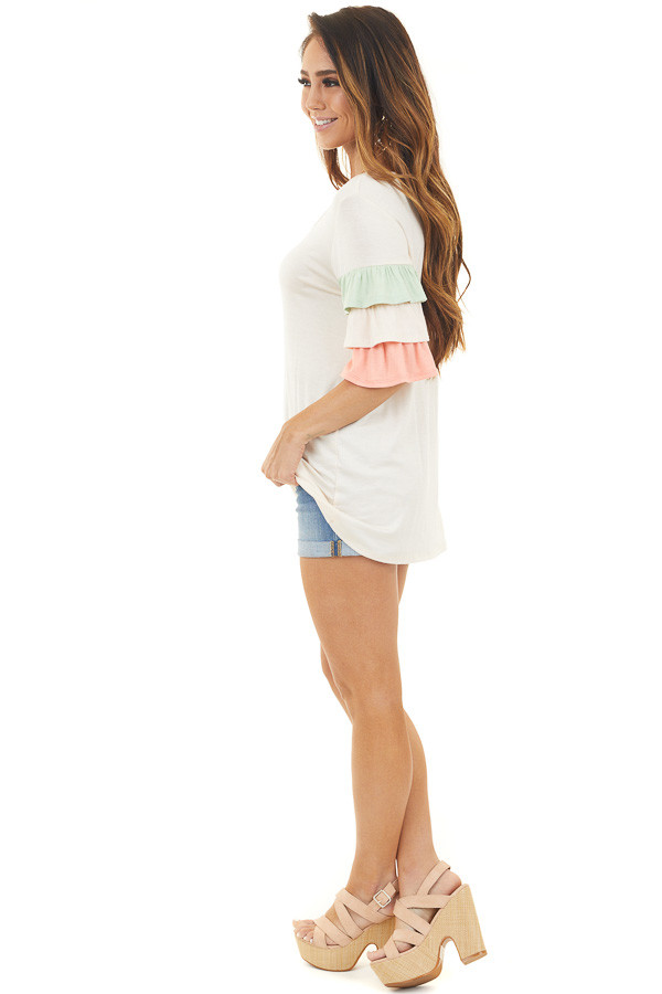 Peach Multicolor Knit Top with Half Length Ruffle Sleeves