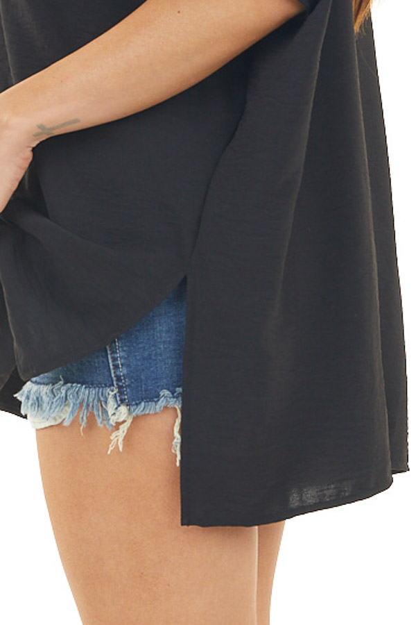 Black Short Sleeve Top with V Neck and High Low Hemline