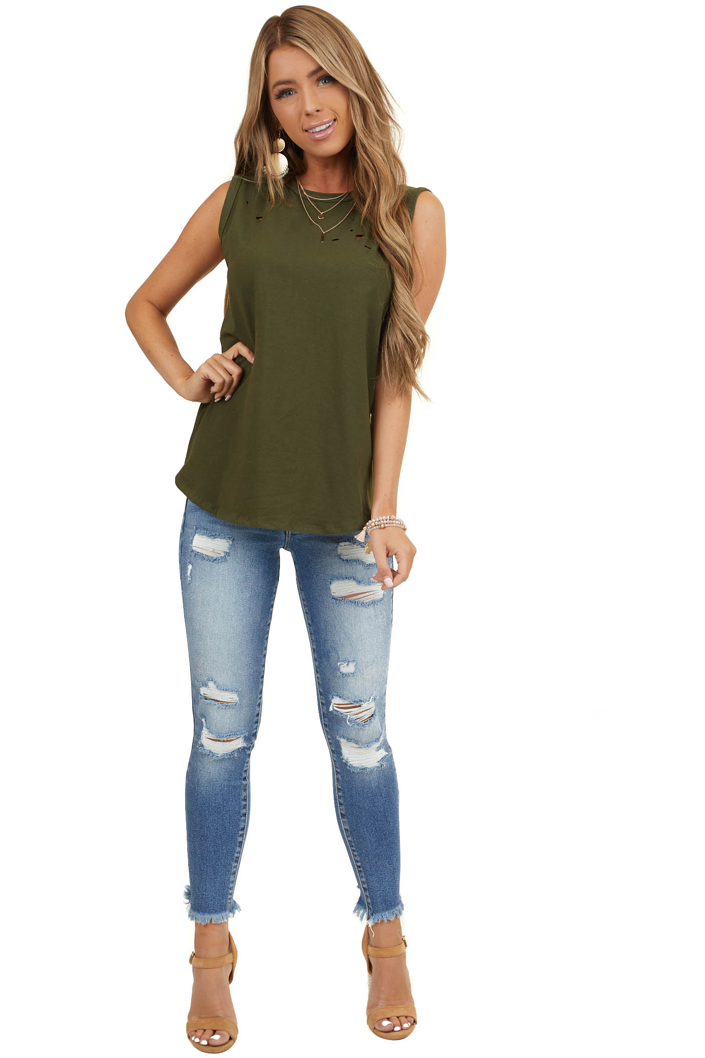 Forest Green Muscle Tank with Laser Cut Hole Details
