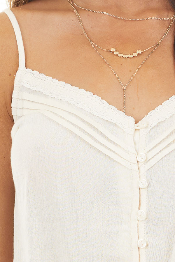 Champagne Woven Crop Top with Button and Tie Details