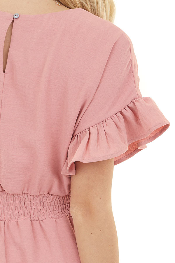 Dusty Blush Short Dress with Ruffled Sleeves and Hemline