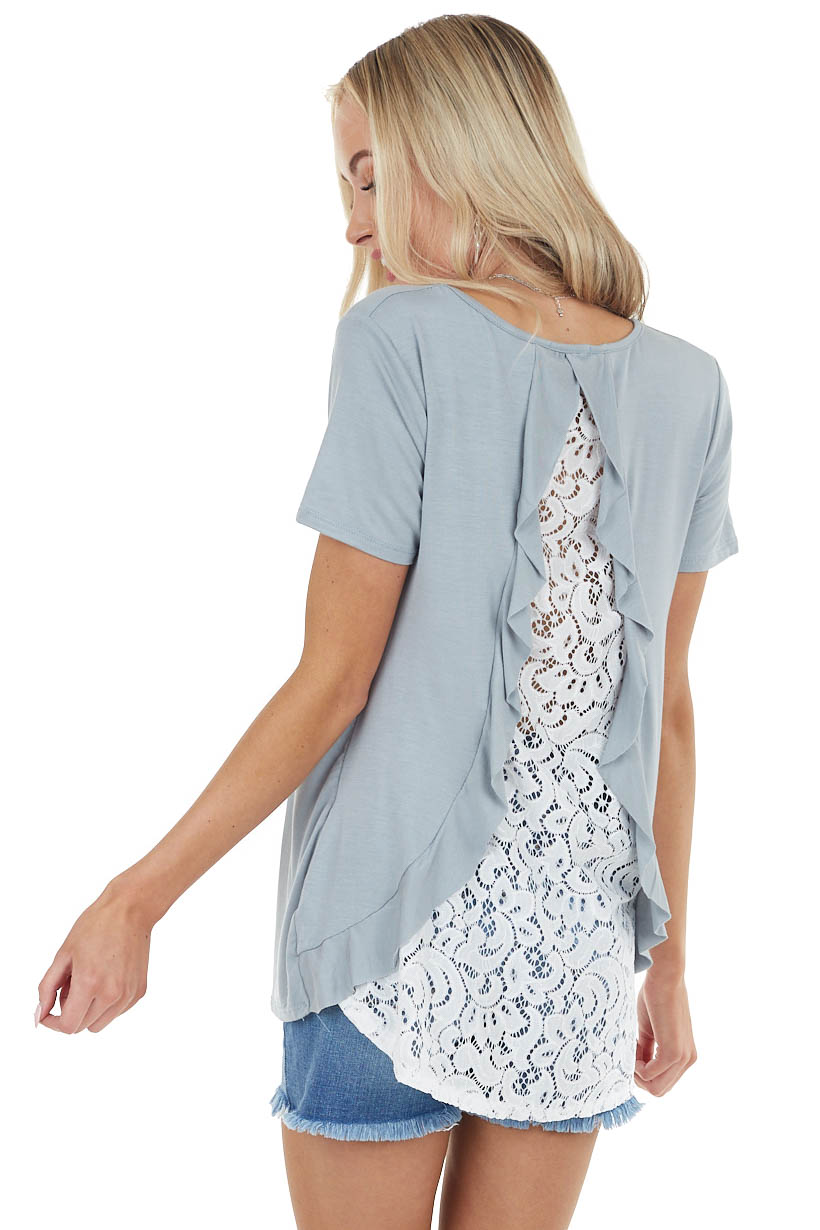 Sage Knit Top with Back Lace Cutout and Ruffle Details