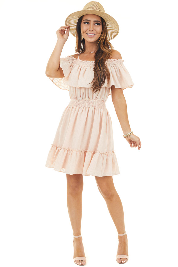 Blush Cold Shoulder Tiered Mini Dress with Smocked Details