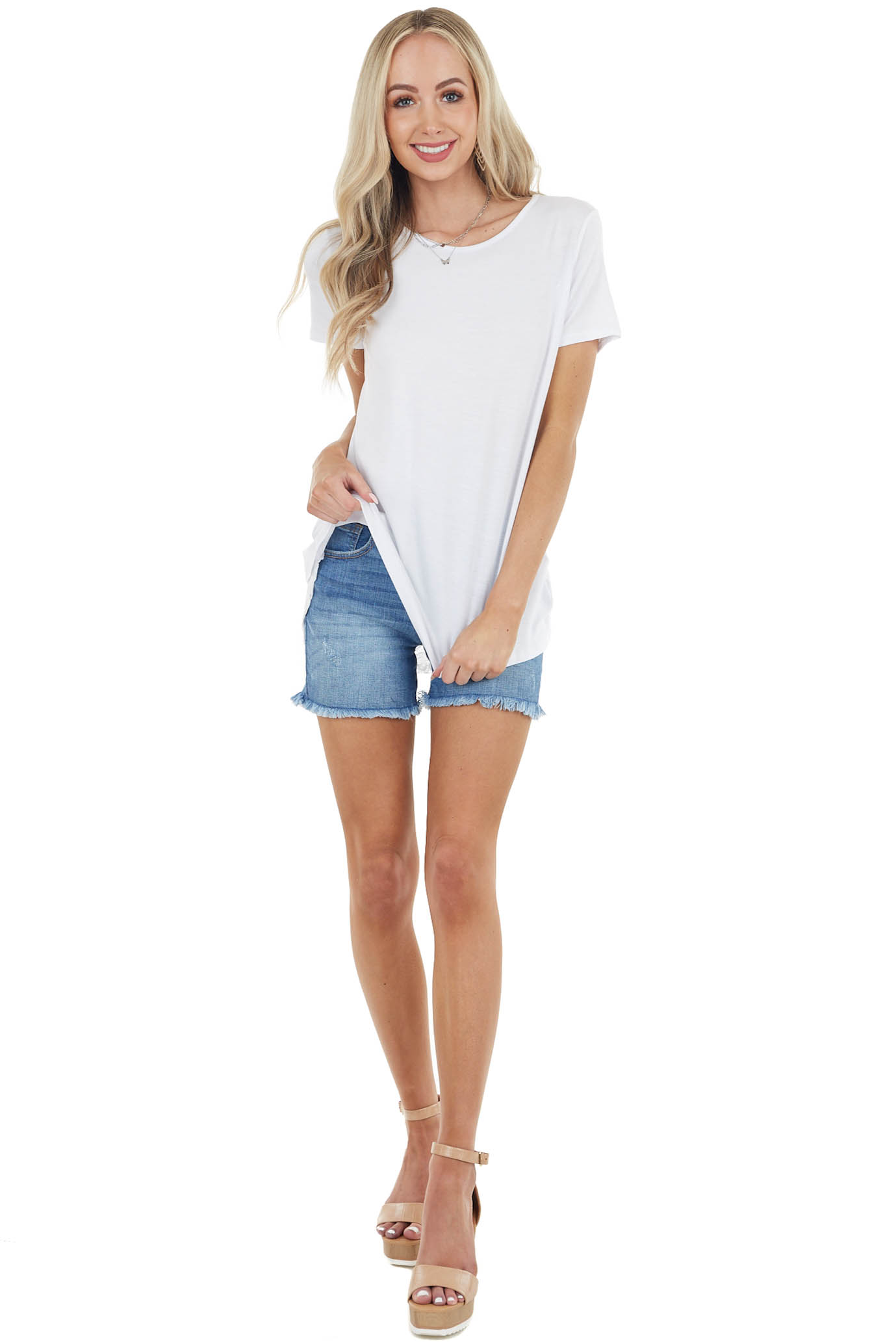 White Knit Top with Back Lace Cutout and Ruffle Details