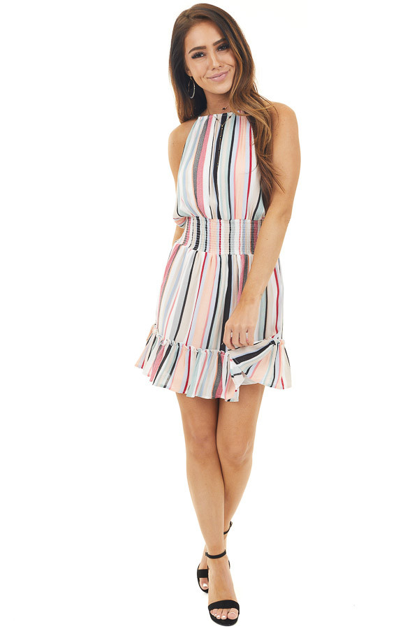 Multicolor Striped Sleeveless Mini Dress with High Neckline