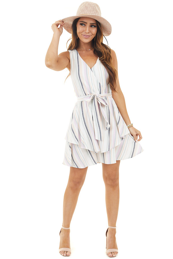 Off White Multicolor Striped Tiered Sleeveless Short Dress