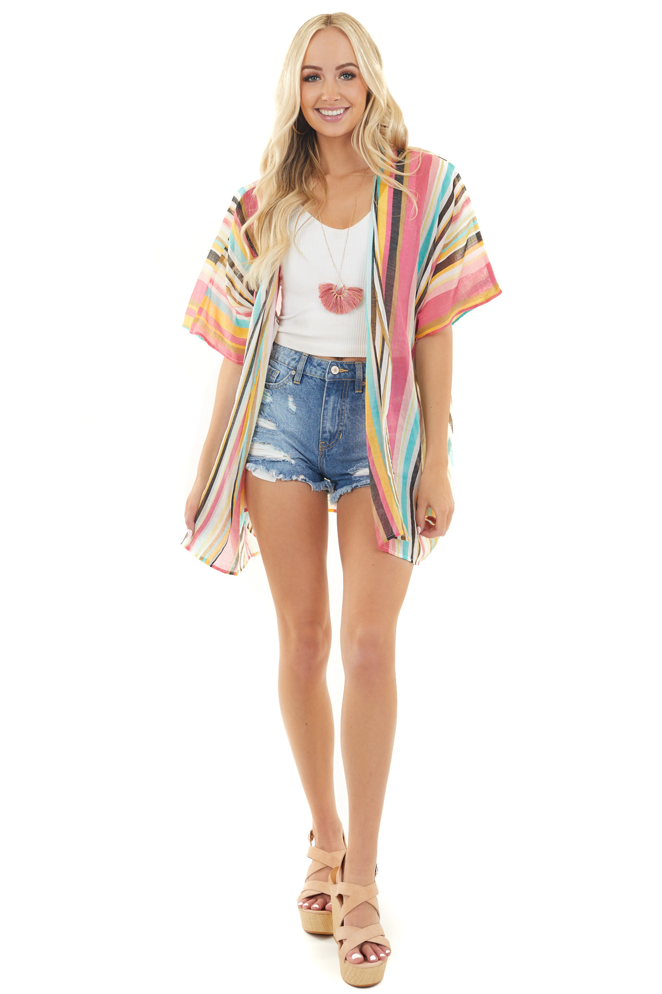 Multicolor Striped Short Sleeve Kimono with Side Pockets