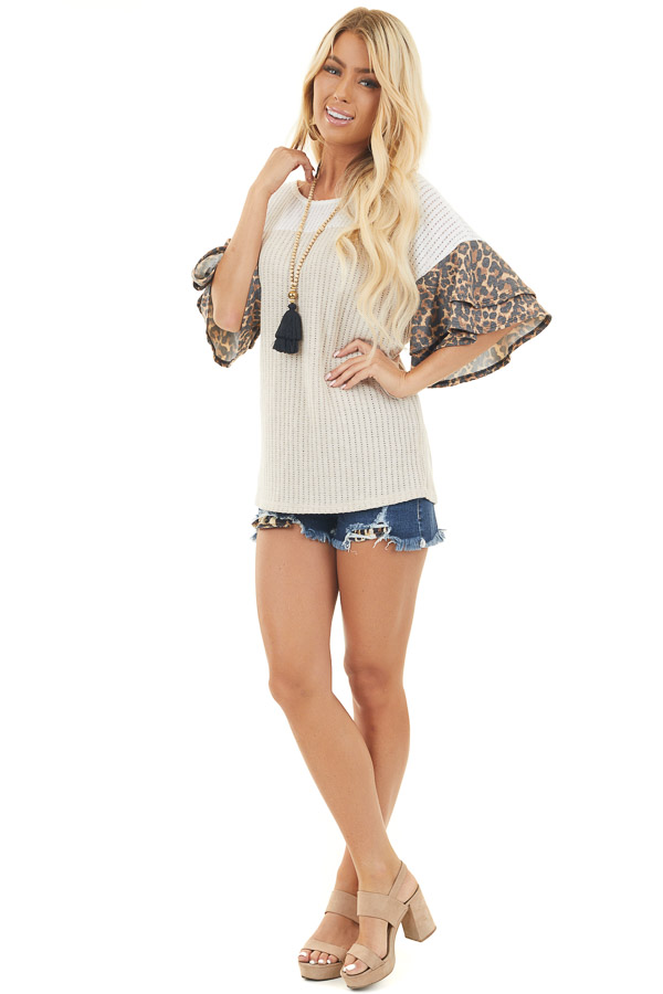 Off White and Beige Knit Top with Leopard Print Sleeves