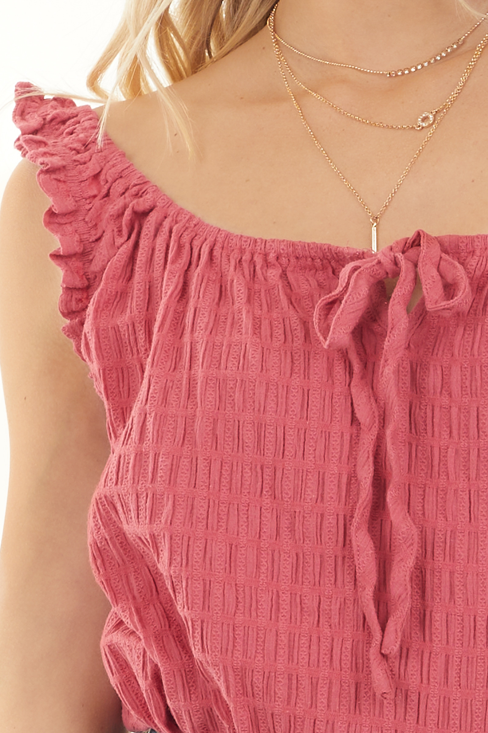 Crimson Red Textured Ruffle Sleeveless Top with Front Tie