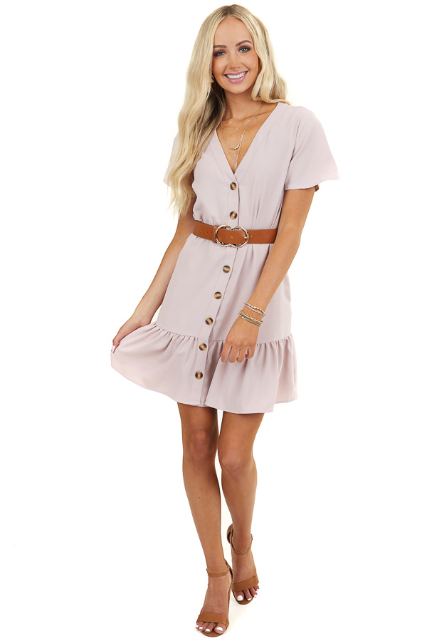 Blush Button Up Dress with Side Pockets and Ruffle Hemline