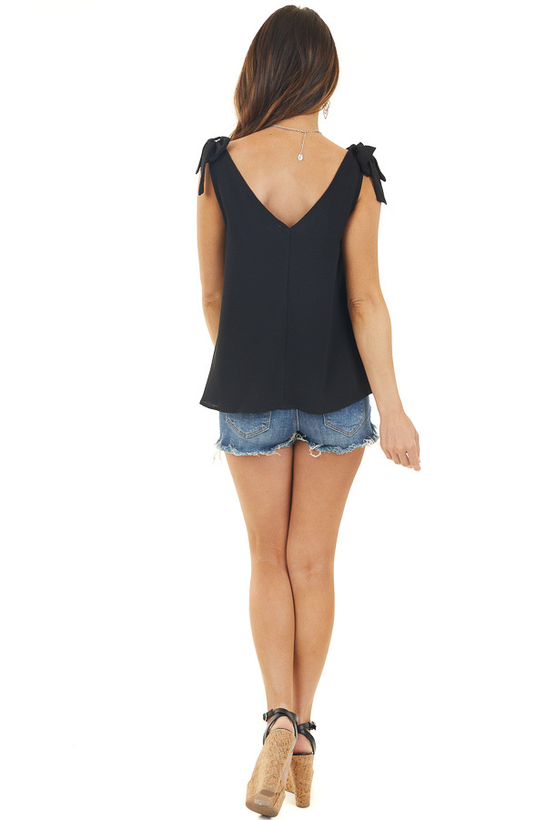 Black V Neck Woven Tank Top with Bow Detail