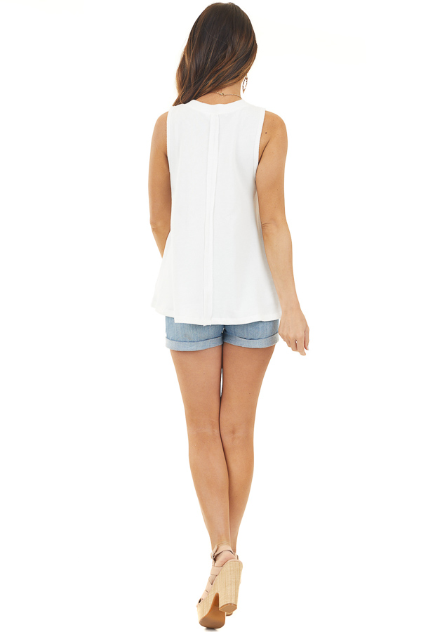 Off White Knit Tank Top with Back Raw Seam Detail