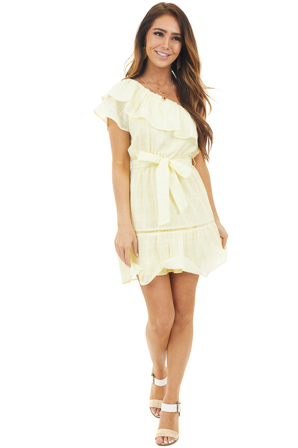 Lemon One Shoulder Short Dress with Ruffle and Tie Detail