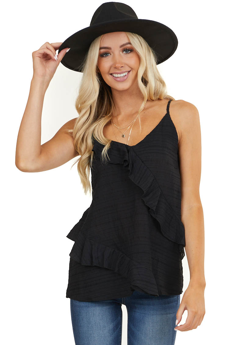 Black Sleeveless V Neck Tank Top with Ruffle Details