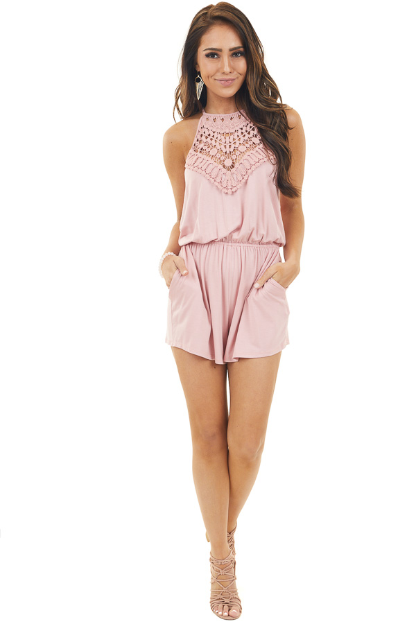 Dusty Blush Sleeveless Short Romper with Crochet Lace Detail