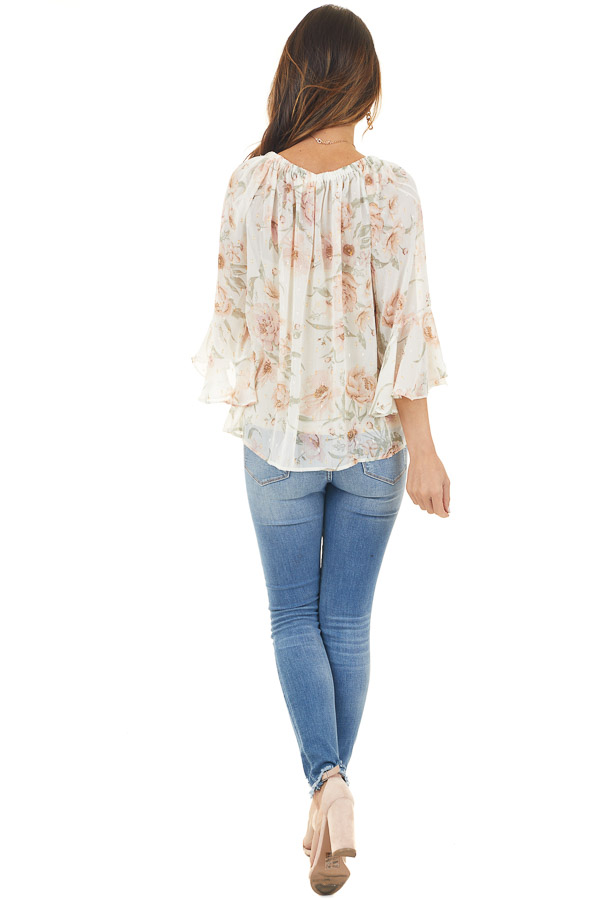 Cream and Blush Floral Print Peasant Top with Ties