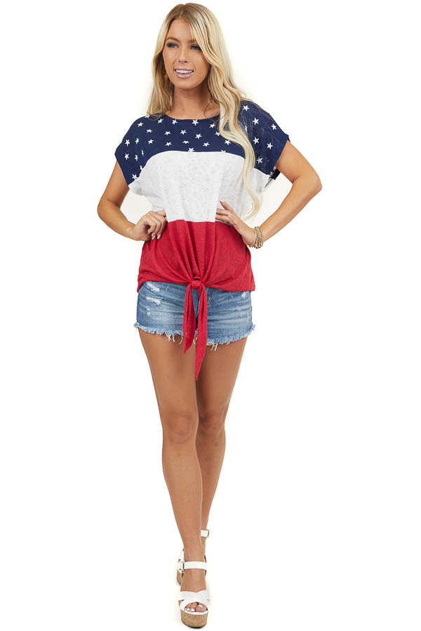 American Flag Print Short Sleeve Knit Top with Front Tie