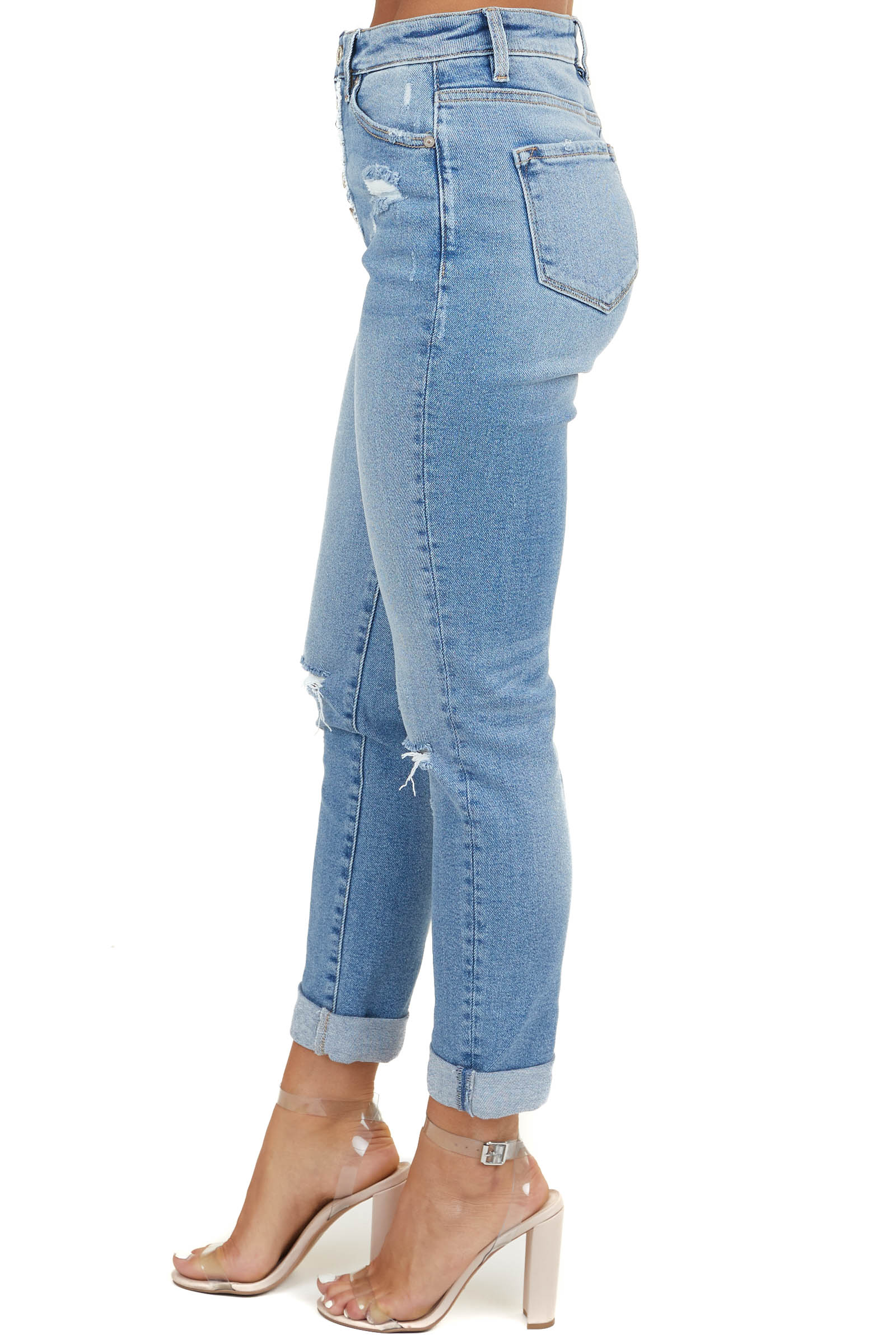 Light Wash Denim Relaxed Fit Jeans with Distressed Details