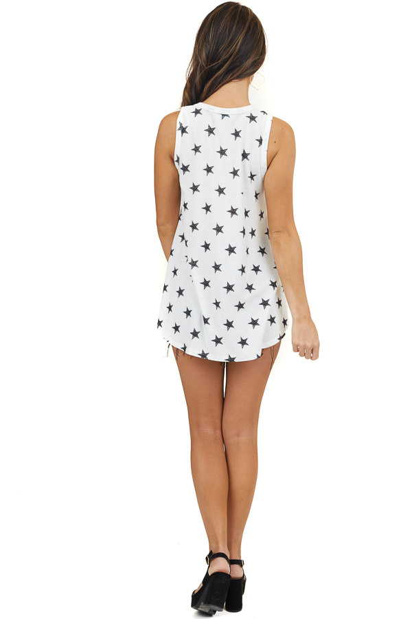 White Star Print Sleeveless Top with Rounded Hemline