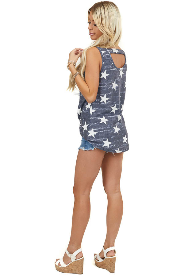 Vintage Navy Blue Star Print Sleeveless Top with Knot Detail
