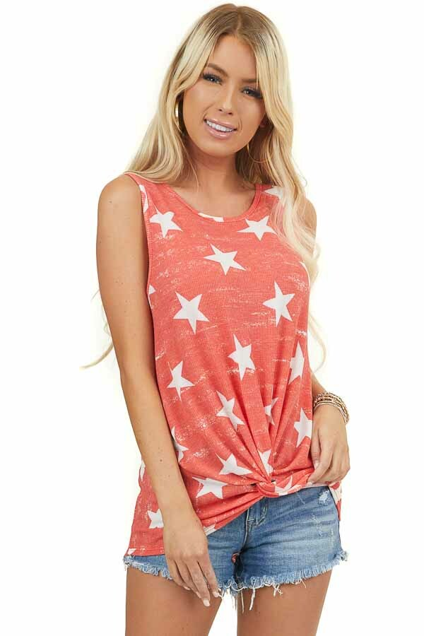 Vintage Red Star Print Sleeveless Top with Knot Detail