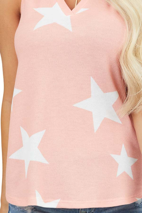 Coral Star Print Sleeveless V Neck Top with Rounded Hemline