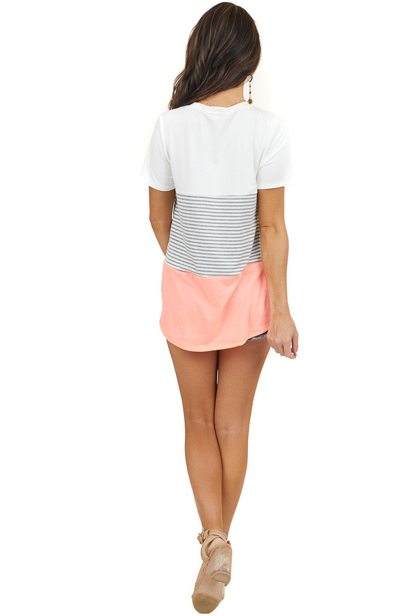 Neon Coral Stripe Print Top with Rose Gold Sequin Pocket