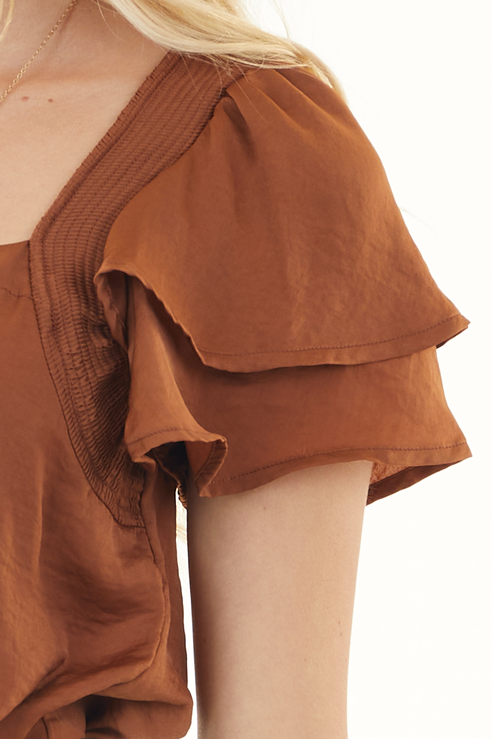 Sienna Brown Satin Bodysuit with Short Ruffle Sleeves