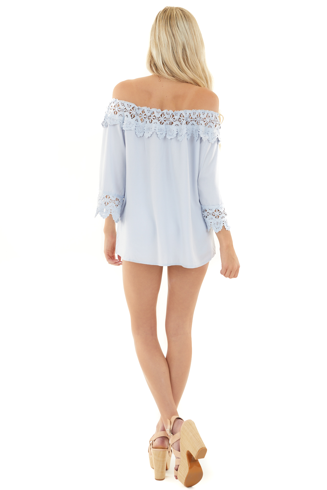 Pale Blue Off the Shoulder Blouse with Lace Trim Details