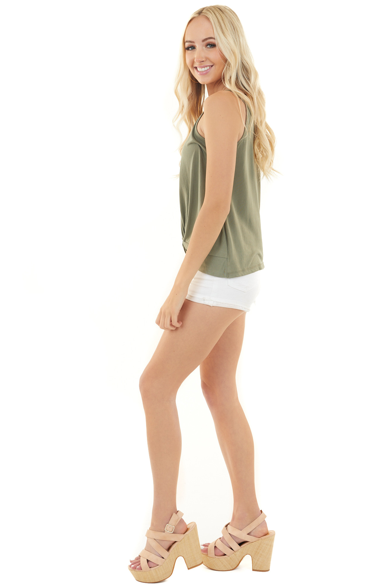 Olive Green Super Soft Knit V Neck Tank Top with Front Twist