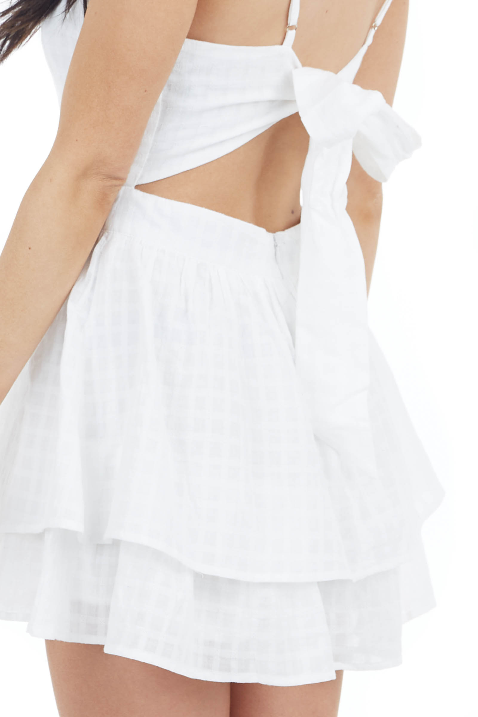 Off White Ruffled Romper with Adjustable Spaghetti Straps