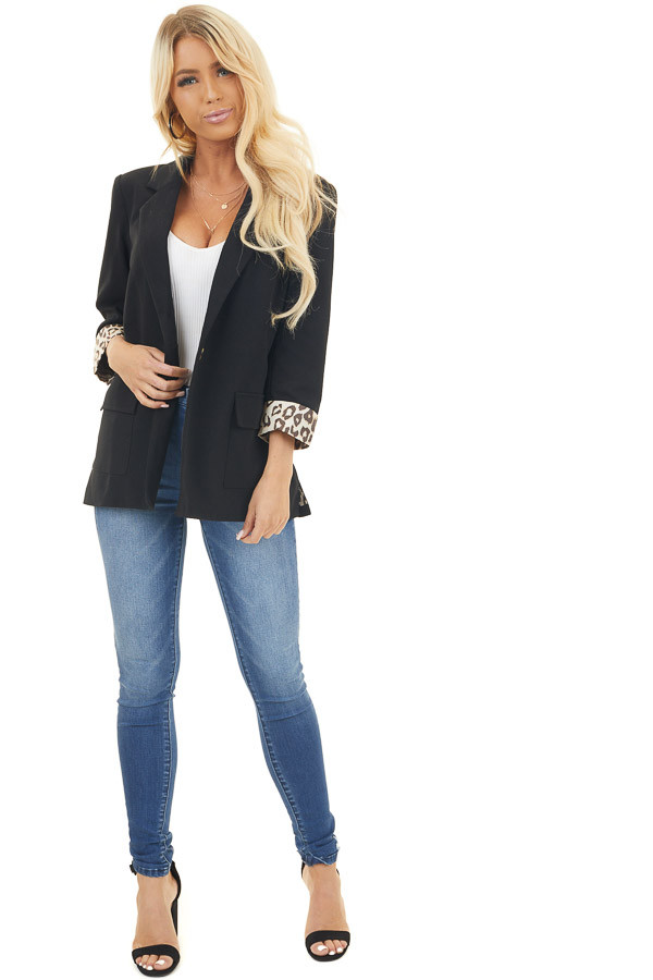 Black 3/4 Sleeve Blazer with Leopard Contrast and Pockets