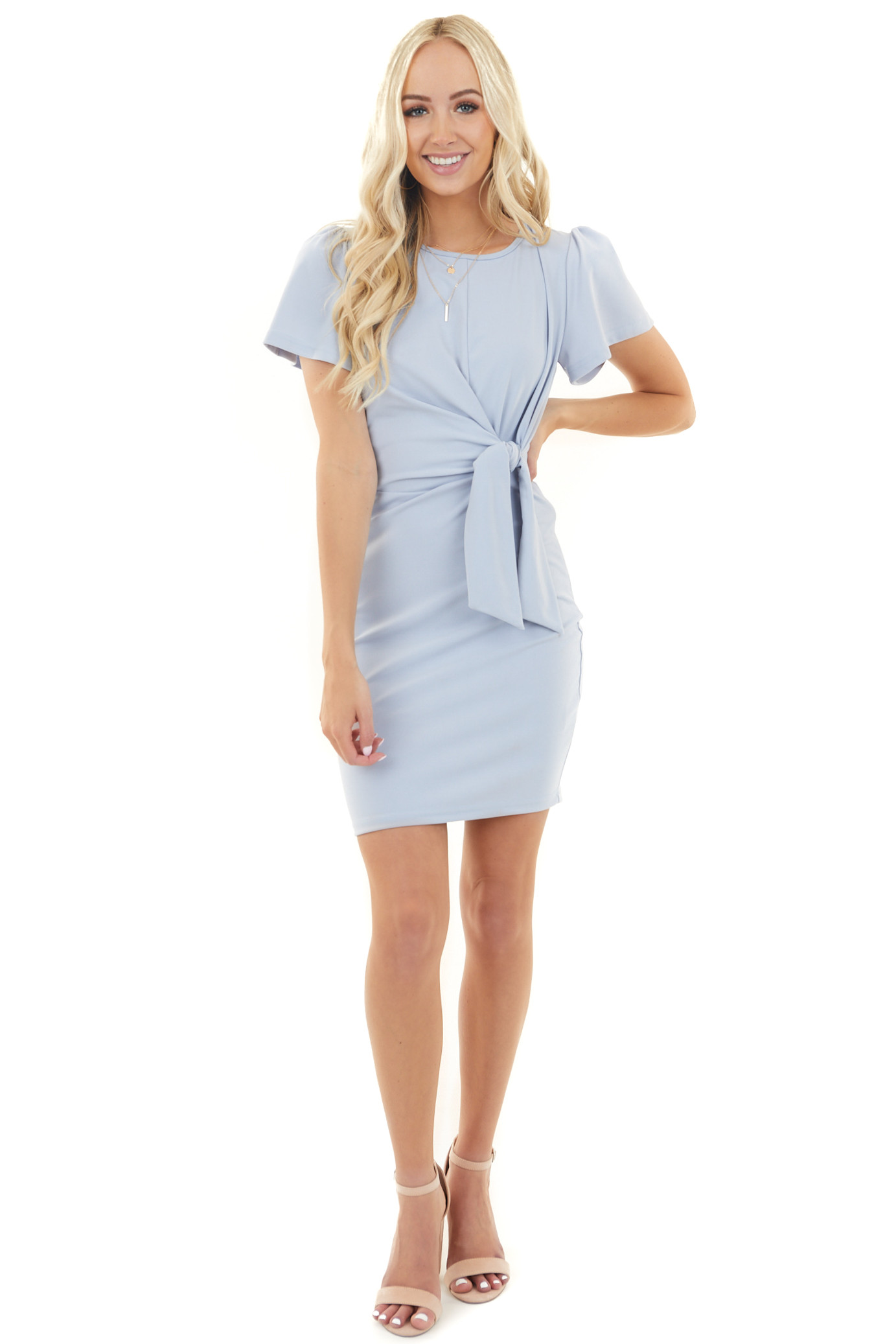 Pale Blue Short Sleeve Knit Dress with Front Waist Tie