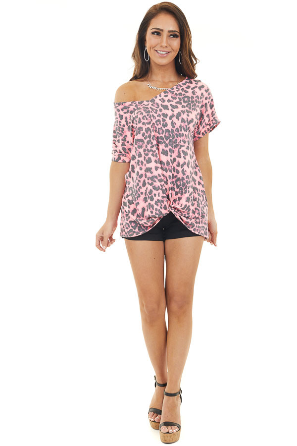 Hot Pink Leopard Print Short Sleeve Top with Twist Detail