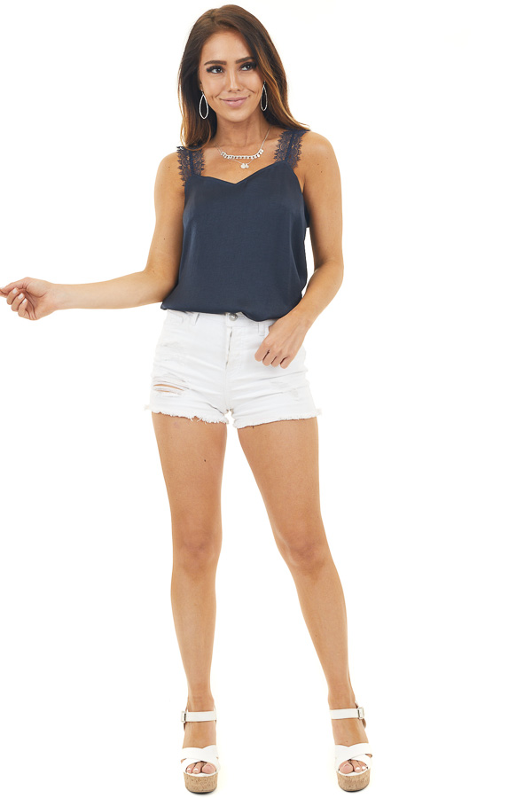 Navy Satin Tank Top with Lace Straps