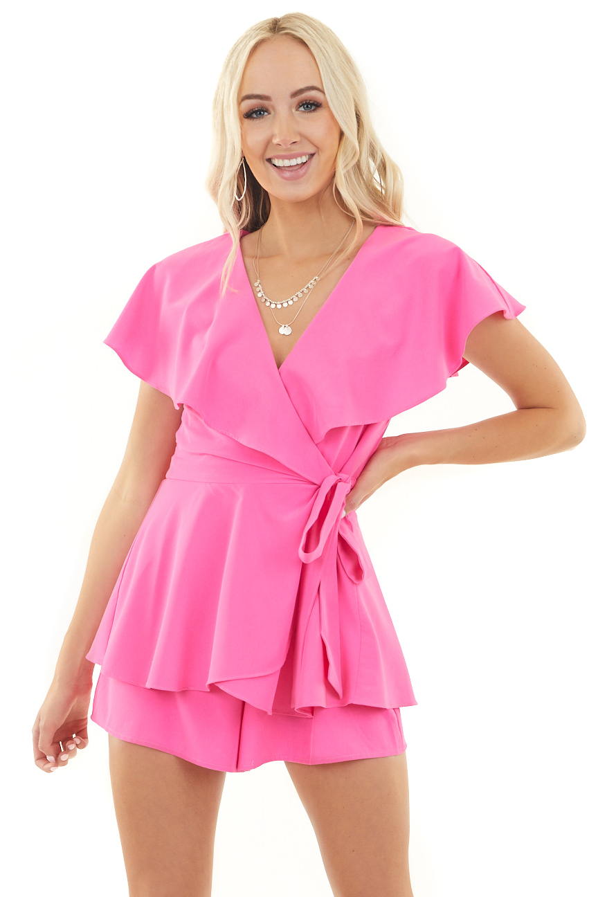 Fuchsia Surplice Open Back Romper with Wrap Details