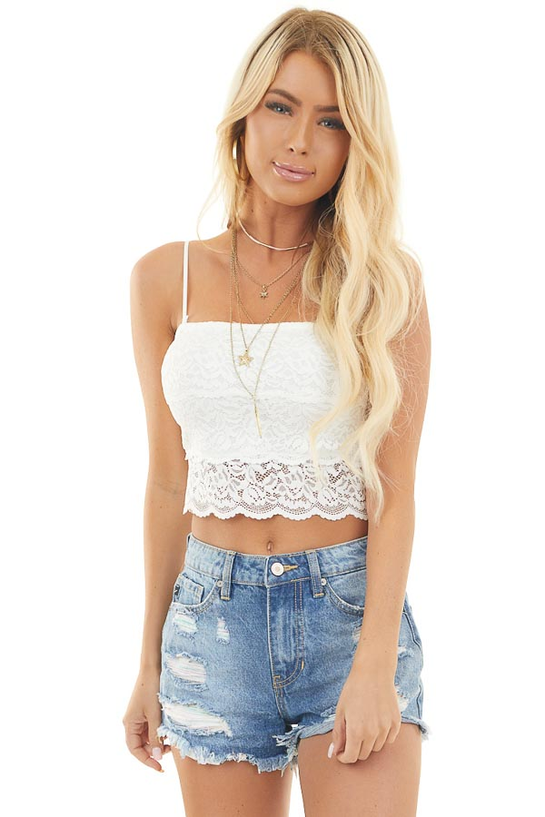Ivory Lace Strappy Bralette with Removable Straps