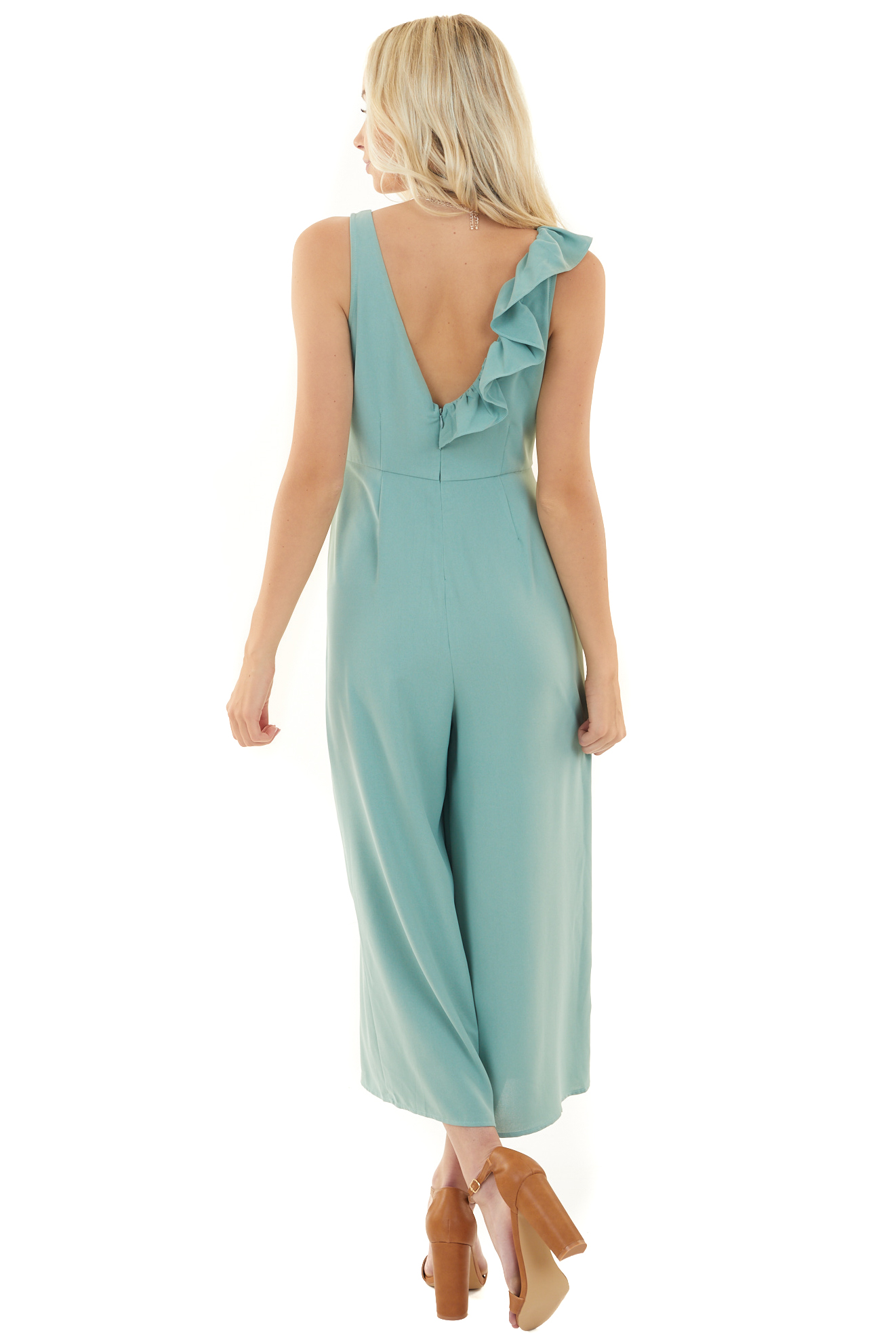 Sage Sleeveless Jumpsuit with Ruffle Detail and Pockets