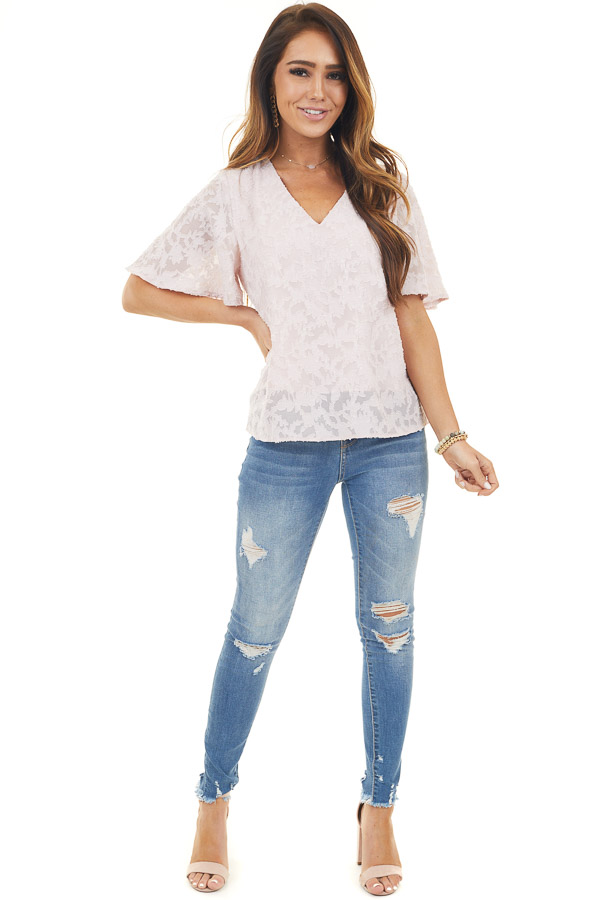 Blush Floral Textured V Neck Short Sleeve Woven Top
