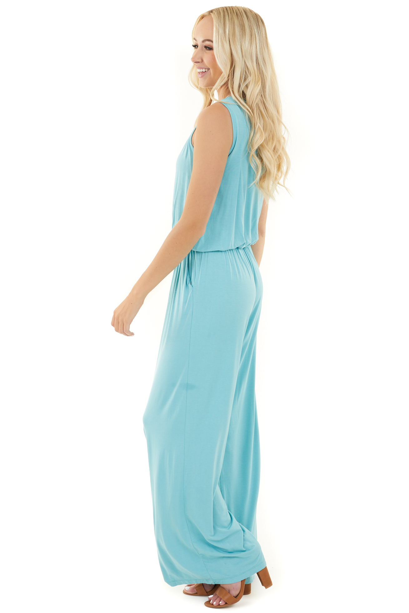Turquoise Blue Sleeveless Jumpsuit with Waist Tie and Pocket