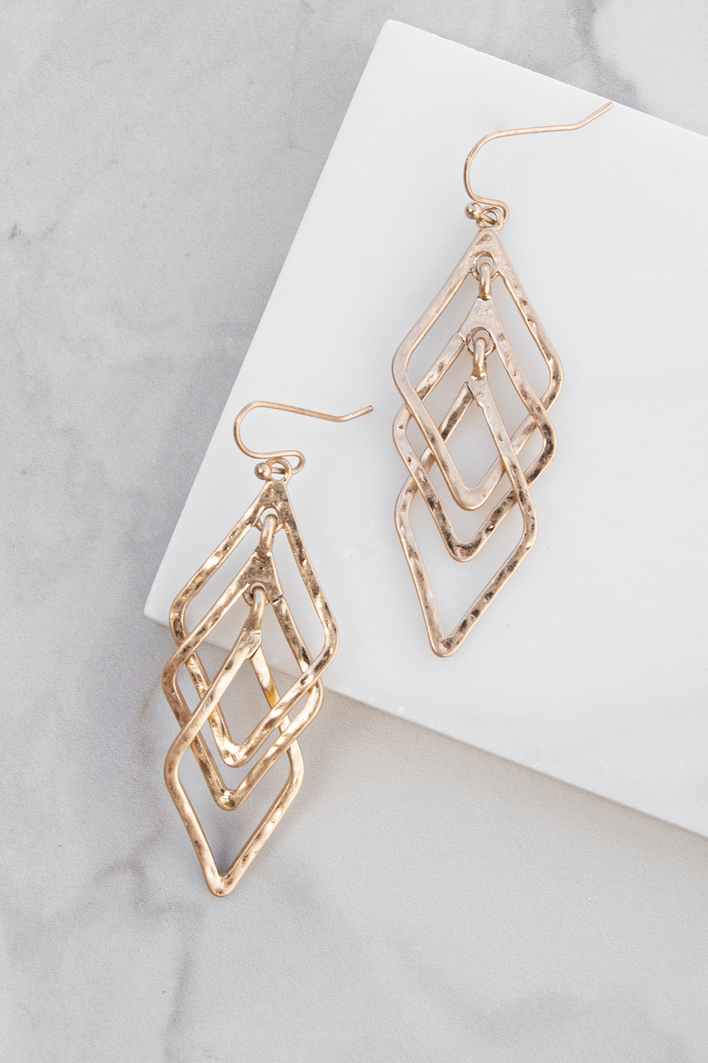 Gold Hammered Diamond Shaped Dangle Earrings