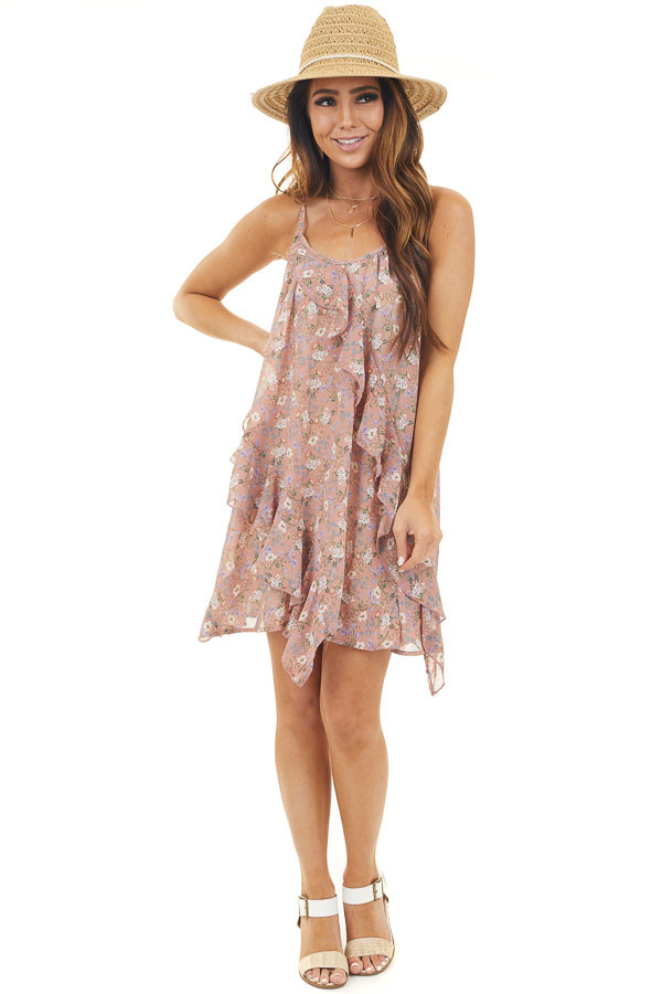 Dusty Rose Floral Sleeveless Mini Dress with Ruffle Detail