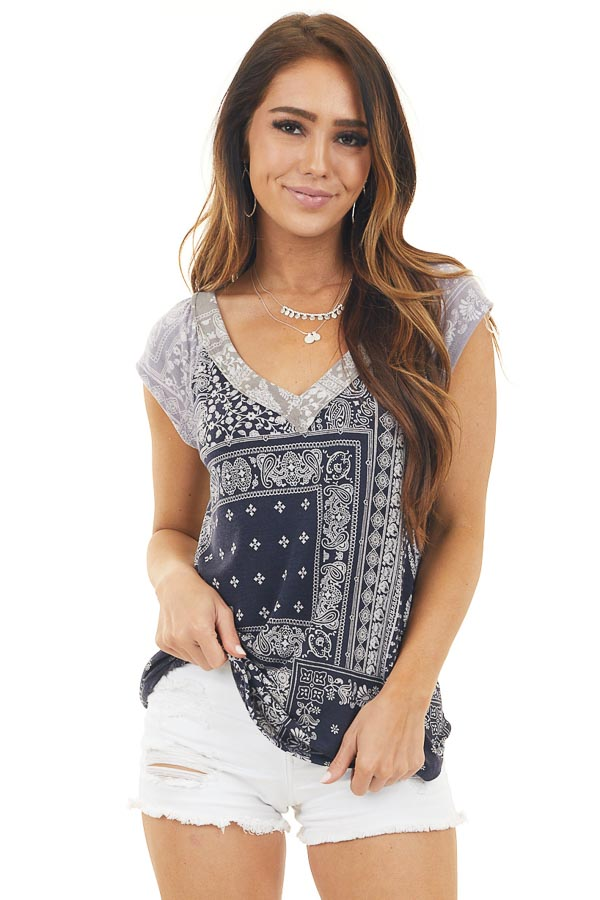 Navy and Grey Printed Short Sleeve Knit Top with V Neckline