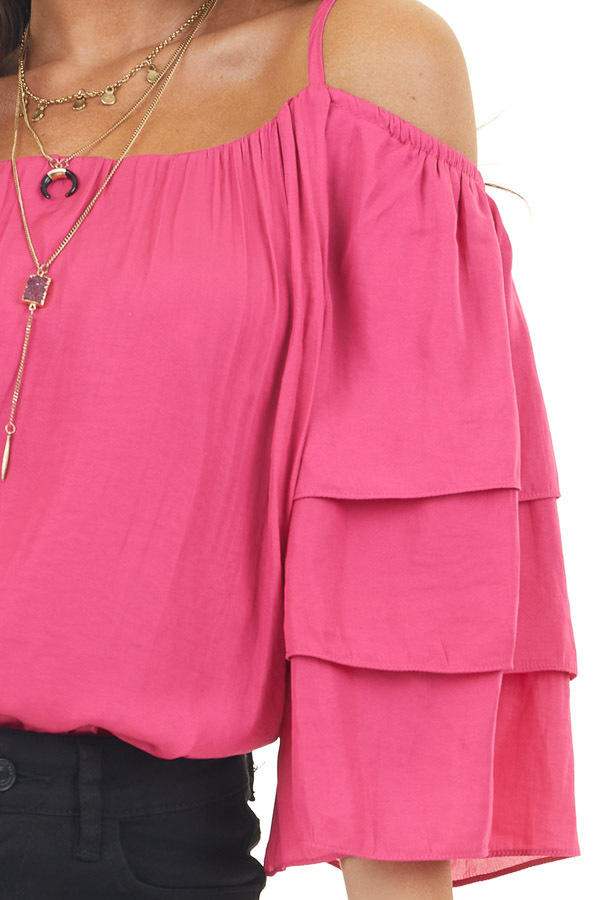 Hot Pink Cold Shoulder Woven Top with Loose Layered Sleeves