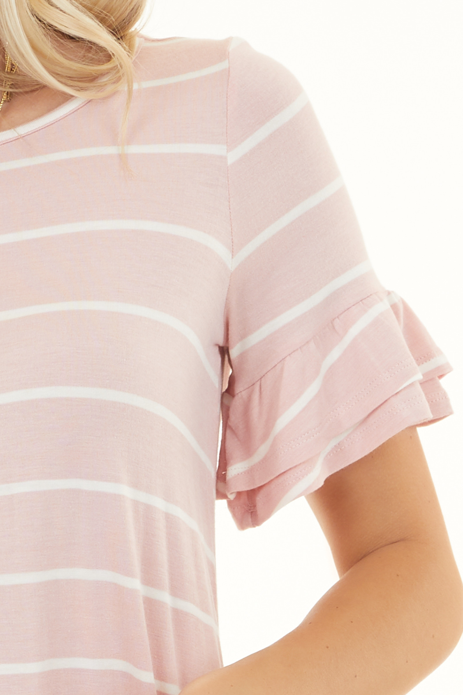 Blush and Ivory Striped Top with Short Tiered Ruffle Sleeves
