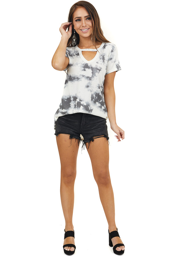 Ivory and Charcoal Tie Dye Top with Front Cutout Detail