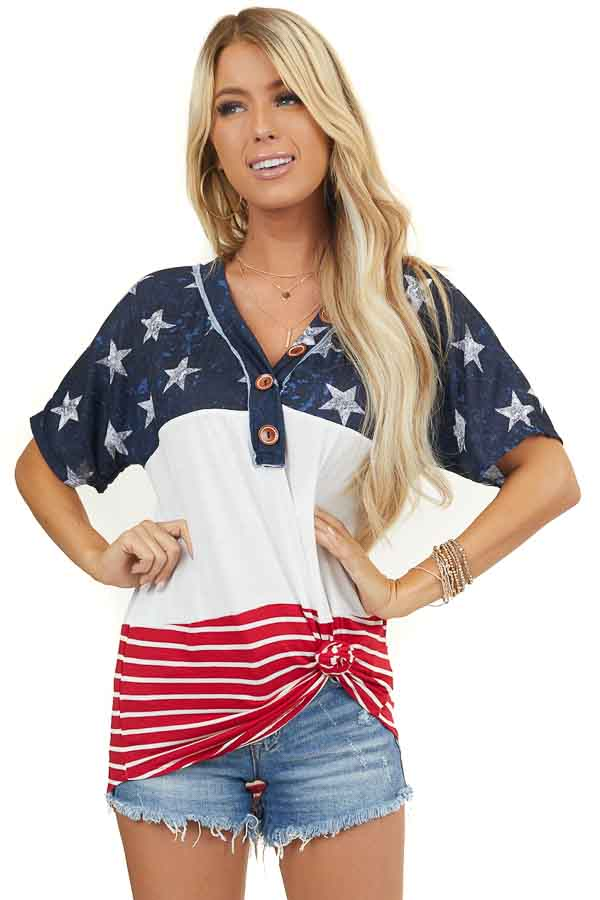 Red White and Blue Color Block Top with Stars and Stripes