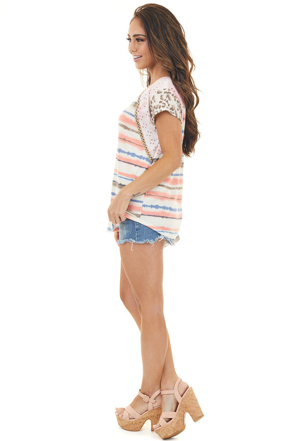 Multicolor and Multiprint Short Sleeve Knit Top