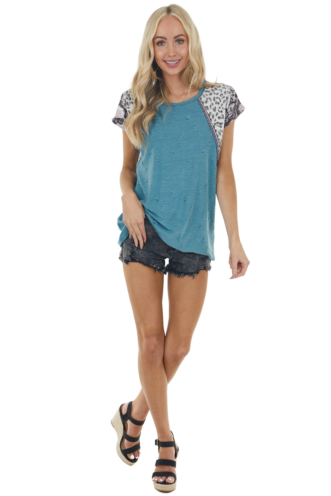 Teal Distressed Top with Multiprint Sleeves and Embroidery
